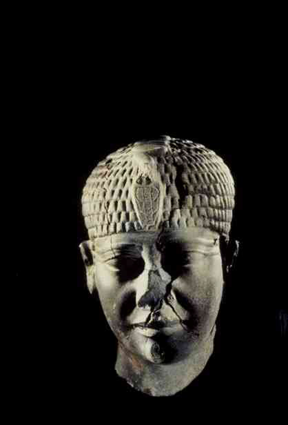 A stone head of an unidentified Egyptian king
