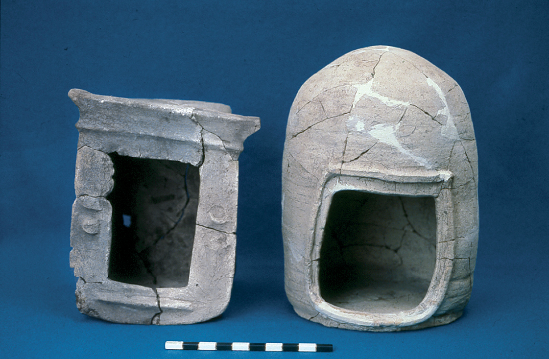 Two clay models of temples